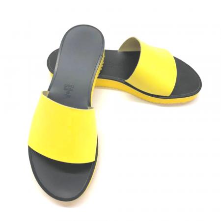 Papuci de dama din piele Elisa Yellow cu platforma3