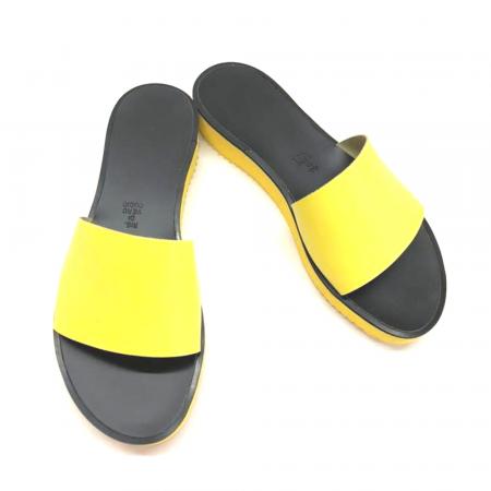 Papuci de dama din piele Elisa Yellow cu platforma1