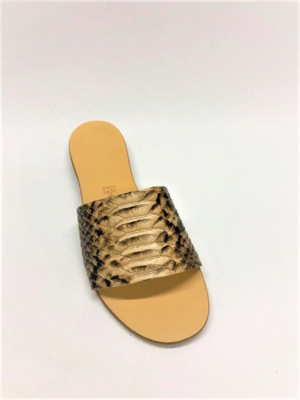 Papuci de dama din piele Elisa Gold Snake2