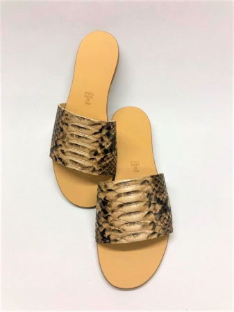 Papuci de dama din piele Elisa Gold Snake0
