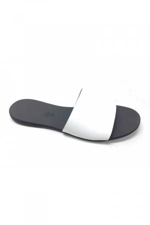 Papuci de dama din piele White Elisa1