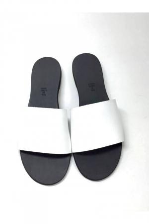Papuci de dama din piele White Elisa3
