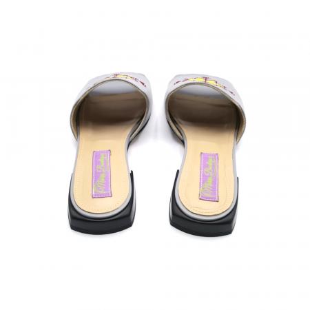 Papuci din piele gri cu broderie traditionala [4]