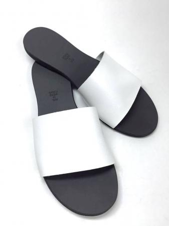 Papuci de dama din piele White Elisa0