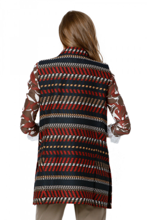 Vesta dama din stofa cu imprimeu multicolor Camila2