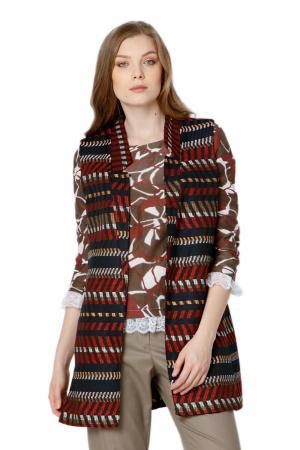 Vesta dama din stofa cu imprimeu multicolor Camila0