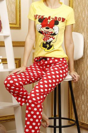 Pijama dama galbena din bumbac Peek a Bow4