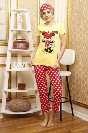 Pijama dama galbena din bumbac Peek a Bow1
