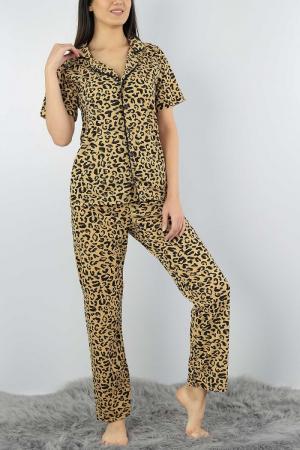 Pijama dama din bumbac cu imprimeu animal print [0]