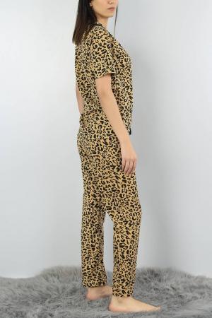 Pijama dama din bumbac cu imprimeu animal print [3]