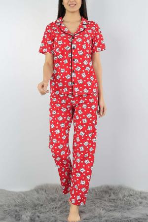 Pijama dama rosie din bumbac cu imprimeu pisicute0