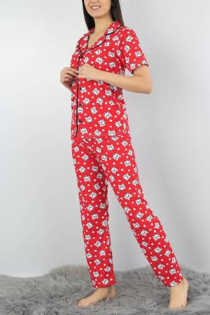 Pijama dama rosie din bumbac cu imprimeu pisicute3