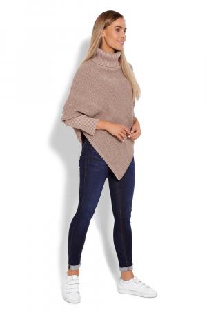 Poncho dama tricotat cu maneci lungi Capuccino2