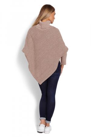 Poncho dama tricotat cu maneci lungi Capuccino3
