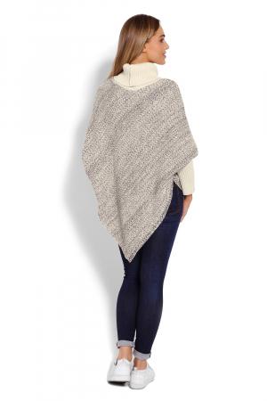 Poncho dama tricotat cu maneci lungi Beige3