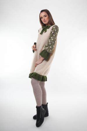 Rochie trapez tricotata Creamy Leaves2