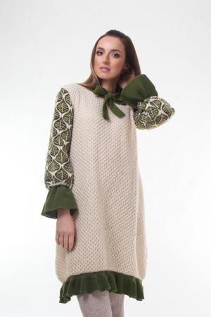 Rochie trapez tricotata Creamy Leaves0