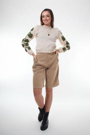 Pulover dama tricotat cu frunze aplicate Creamy1
