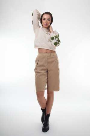 Pulover dama tricotat cu frunze aplicate Creamy2