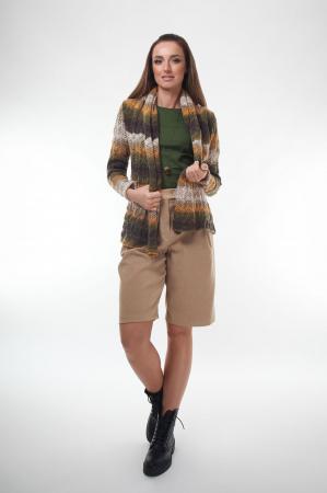 Cardigan dama tricotat in nuante de maro degrade2