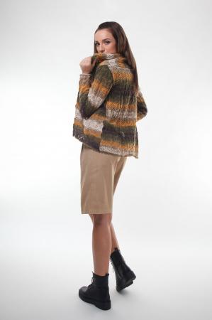 Cardigan dama tricotat in nuante de maro degrade1