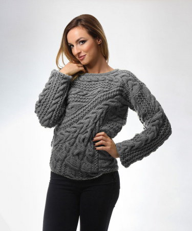 Pulover dama gri tricotat manual [0]