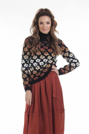Pulover tricotat negru cu model floral si maneci lungi0