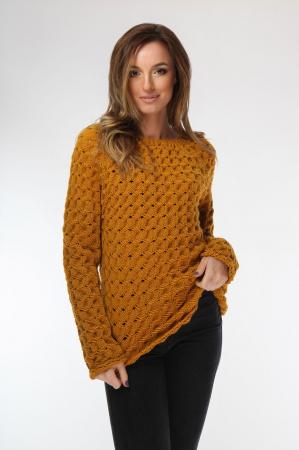Pulover dama galben mustar tricotat manual