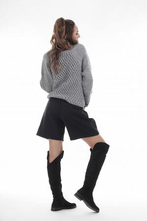 Pulover tricotat manual gri cu maneci lungi2