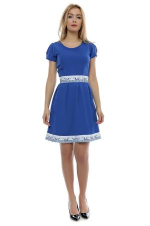 Rochie albastra cu insertie motive traditionale pe talie si poale RO178