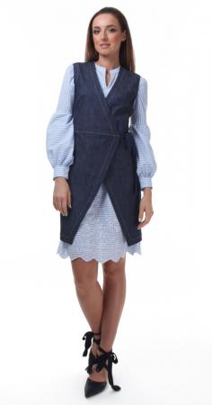 Rochie tunica alba cu dungi albastre si broderie sparta3