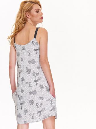 Rochie de zi din vascoza cu imprimeu marin si bretele negre [1]
