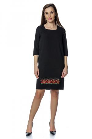 Rochie casual neagra cu broderie florala RO2750