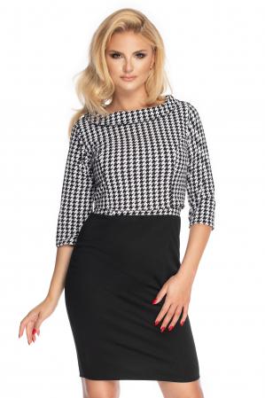 Compleu office format din rochie si bluza neagru cu alb0