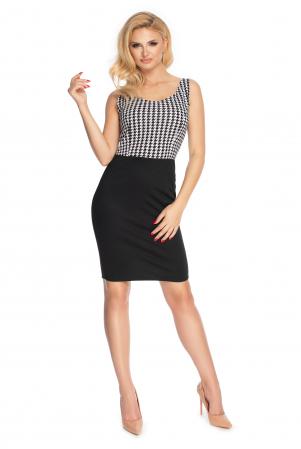Compleu office format din rochie si bluza neagru cu alb1