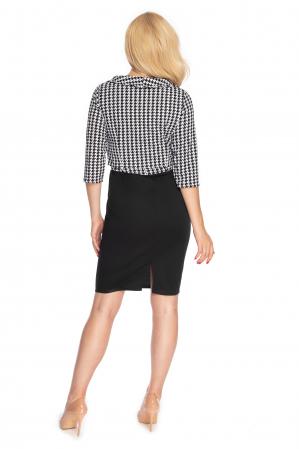 Compleu office format din rochie si bluza neagru cu alb3