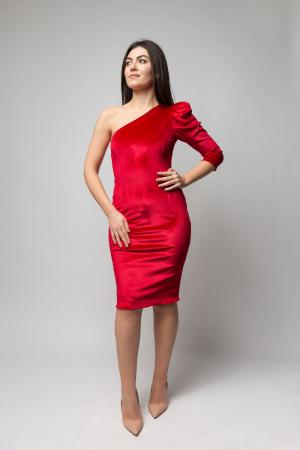 Rochie eleganta din catifea rosie cu un umar gol0