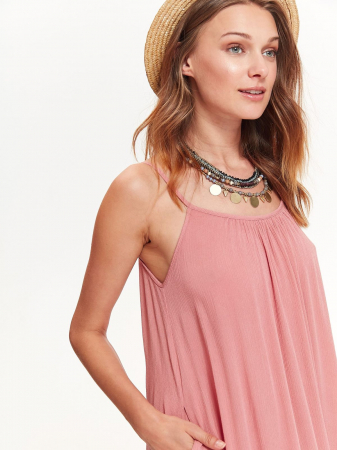 Rochie lejera lunga cu bretele subtiri din vascoza Nude Pink3