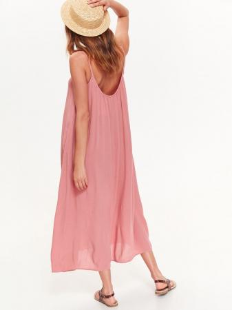 Rochie lejera lunga cu bretele subtiri din vascoza Nude Pink1