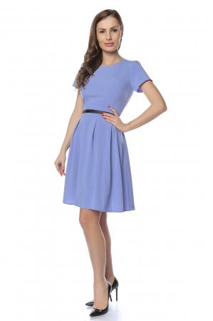 Rochie dama casual bleu cu aplicatie piele ecologica in talie RO2381