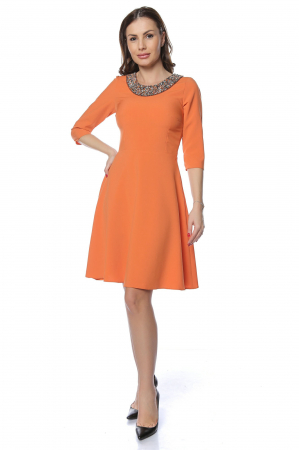 Rochie dama casual cloche orange cu margele multicolore la gat RO221