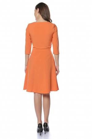 Rochie dama casual cloche orange cu margele multicolore la gat RO2212
