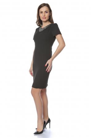 Rochie dama eleganta neagra cu aplicatie margele la gat RO237, M1