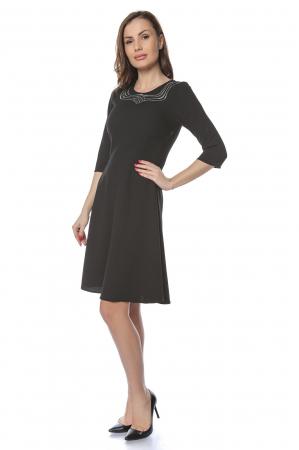 Rochie dama eleganta neagra cu dantela aplicata la gat RO2240