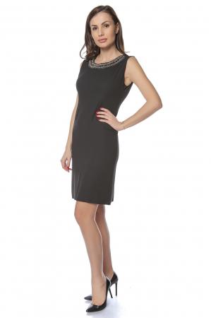 Rochie dama eleganta neagra cu margele multicolore la gat RO2361