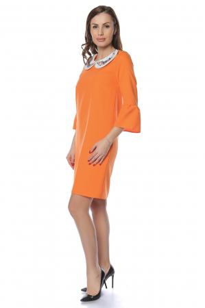 Rochie dama office orange cu guler alb RO240
