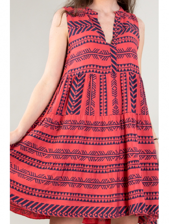Rochie de zi cu imprimeu forme geometrice Red Day [1]