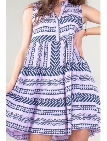 Rochie de zi cu imprimeu forme geometrice Purple Day [1]