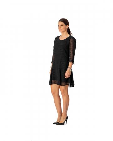 Rochie din voal texturat negru Alicia [1]