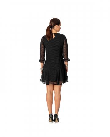 Rochie din voal texturat negru Alicia [3]